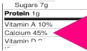 detail of Nutrition Facts, red arrow points to Calcium 45%