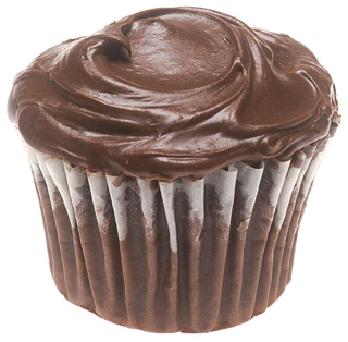 a frosted chocolate cupcake